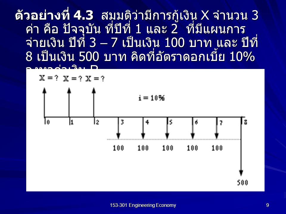 153-301 Engineering Economy 9 ตัวอย่างที่ 4.3 สมมติว่ามีการกู้เงิน X จำนวน 3 ค่า คือ ปัจจุบัน ที่ปีที่ 1 และ 2 ที่มีแผนการ จ่ายเงิน ปีที่ 3 – 7 เป็นเง