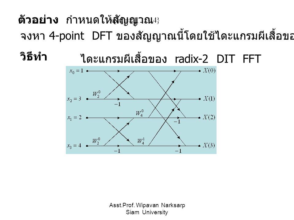 Asst.Prof. Wipavan Narksarp Siam University ตัวอย่าง กำหนดให้สัญญาณ จงหา 4-point DFT ของสัญญาณนี้โดยใช้ไดะแกรมผีเสื้อของ radix-2 DIT FFT วิธีทำ ไดะแกร
