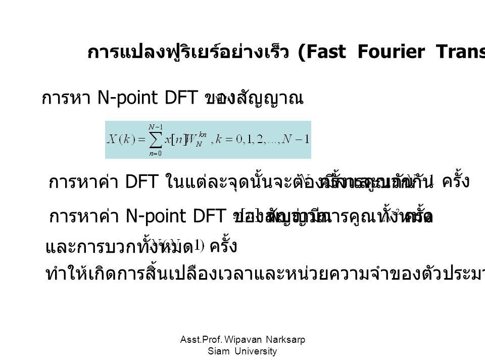 Asst.Prof. Wipavan Narksarp Siam University การแปลงฟูริเยร์อย่างเร็ว (Fast Fourier Transform :FFT) การหา N-point DFT ของสัญญาณ การหาค่า DFT ในแต่ละจุด