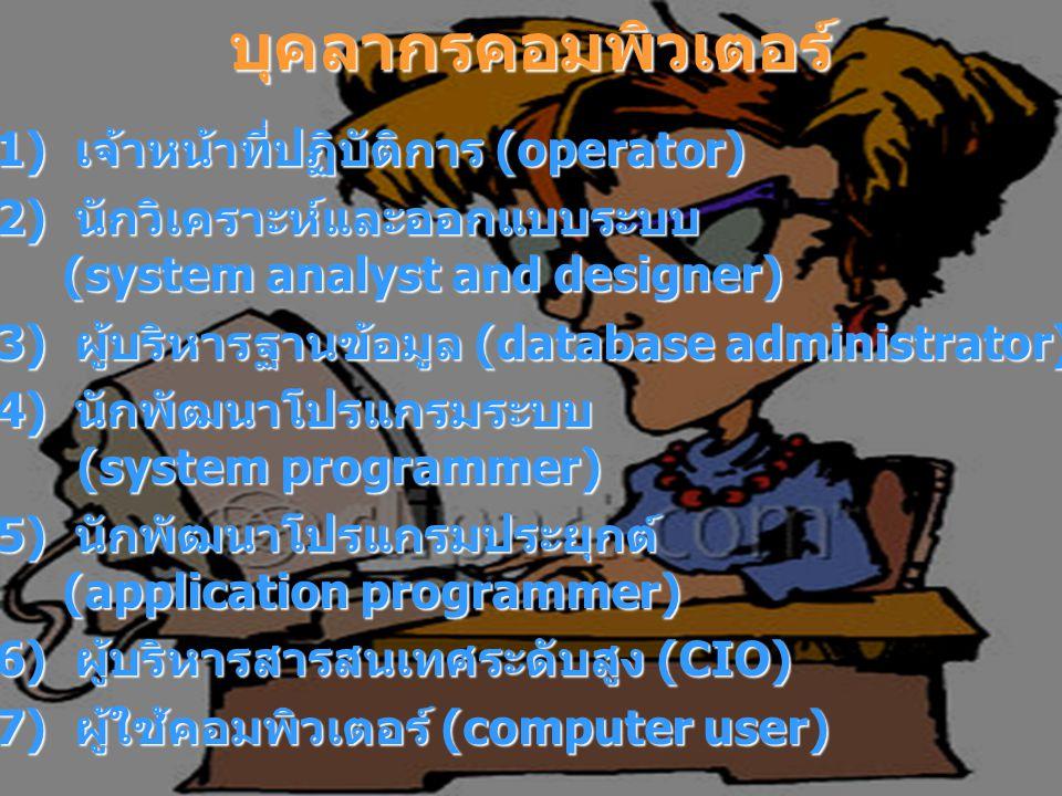 บุคลากรคอมพิวเตอร์ 1) เจ้าหน้าที่ปฏิบัติการ (operator) 1) เจ้าหน้าที่ปฏิบัติการ (operator) 2) นักวิเคราะห์และออกแบบระบบ (system analyst and designer) 2) นักวิเคราะห์และออกแบบระบบ (system analyst and designer) 3) ผู้บริหารฐานข้อมูล (database administrator) 3) ผู้บริหารฐานข้อมูล (database administrator) 4) นักพัฒนาโปรแกรมระบบ (system programmer) 4) นักพัฒนาโปรแกรมระบบ (system programmer) 5) นักพัฒนาโปรแกรมประยุกต์ (application programmer) 5) นักพัฒนาโปรแกรมประยุกต์ (application programmer) 6) ผู้บริหารสารสนเทศระดับสูง (CIO) 6) ผู้บริหารสารสนเทศระดับสูง (CIO) 7) ผู้ใช้คอมพิวเตอร์ (computer user) 7) ผู้ใช้คอมพิวเตอร์ (computer user)