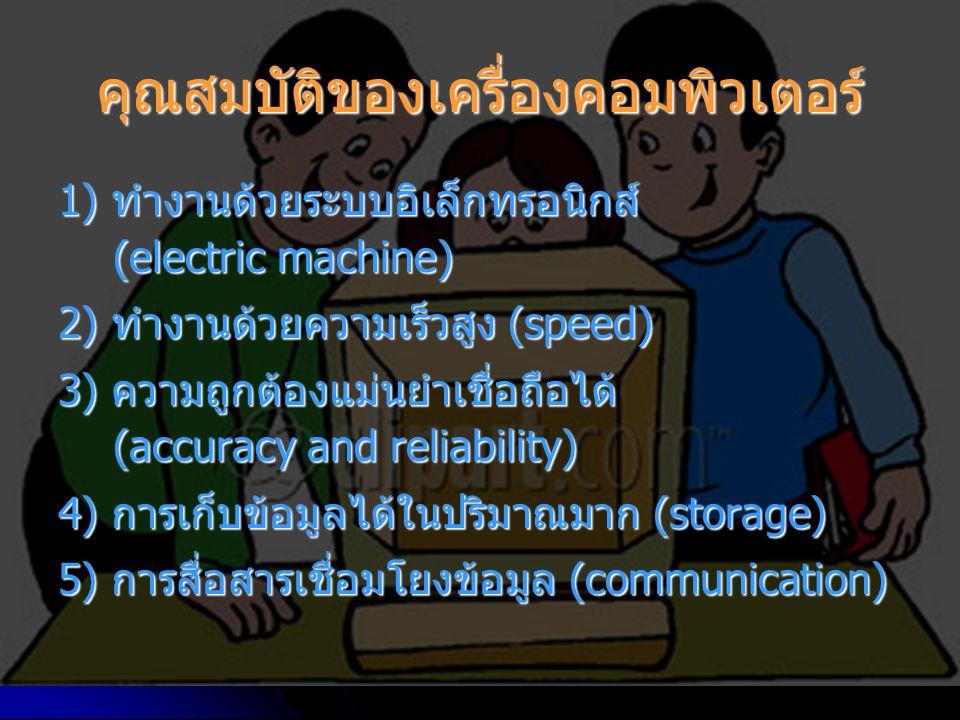คุณสมบัติของเครื่องคอมพิวเตอร์ 1) ทำงานด้วยระบบอิเล็กทรอนิกส์ (electric machine) 2) ทำงานด้วยความเร็วสูง (speed) 3) ความถูกต้องแม่นยำเชื่อถือได้ (accuracy and reliability) 4) การเก็บข้อมูลได้ในปริมาณมาก (storage) 5) การสื่อสารเชื่อมโยงข้อมูล (communication)