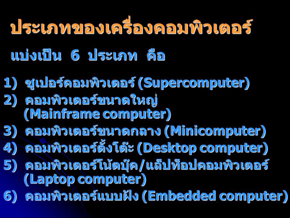 ประเภทของเครื่องคอมพิวเตอร์ 1) ซูเปอร์คอมพิวเตอร์ (Supercomputer) 2) คอมพิวเตอร์ขนาดใหญ่ (Mainframe computer) 3) คอมพิวเตอร์ขนาดกลาง (Minicomputer) 4) คอมพิวเตอร์ตั้งโต๊ะ (Desktop computer) 5) คอมพิวเตอร์โน้ตบุ๊ค/แล็ปท็อปคอมพิวเตอร์ (Laptop computer) 6) คอมพิวเตอร์แบบฝัง (Embedded computer) แบ่งเป็น 6 ประเภท คือ