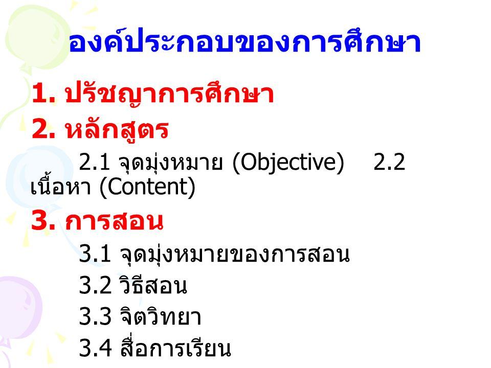 องค์ประกอบของการศึกษา 1. ปรัชญาการศึกษา 2. หลักสูตร 2.1 จุดมุ่งหมาย (Objective)2.2 เนื้อหา (Content) 3. การสอน 3.1 จุดมุ่งหมายของการสอน 3.2 วิธีสอน 3.