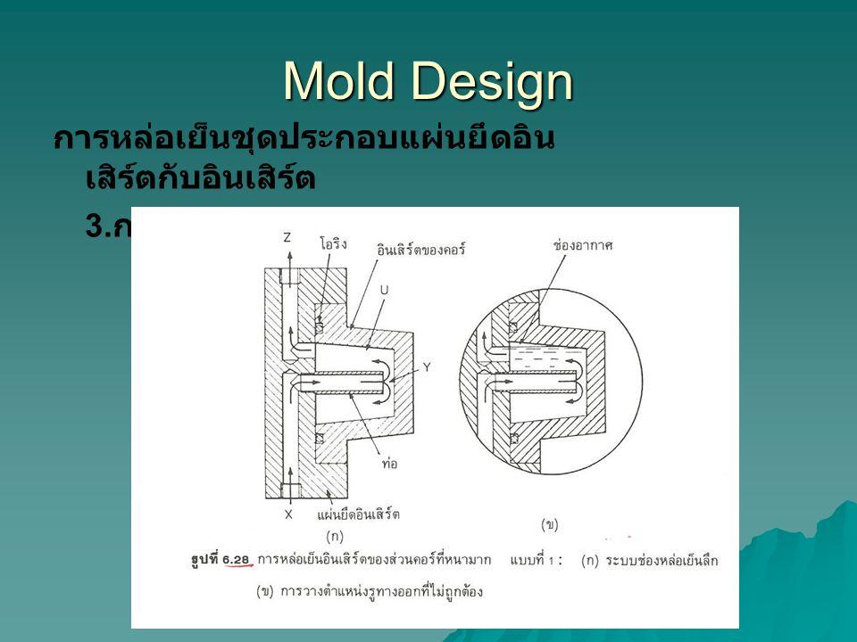 Mold Design การหล่อเย็นชุดประกอบแผ่นยึดอิน เสิร์ตกับอินเสิร์ต 3.