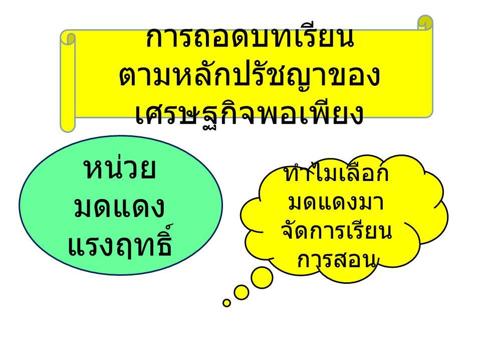 มด แดง แรง ฤทธิ์ ภาษาไทย - เขียนเรื่อง จาก จินตนาการ เกี่ยวกับมด แดง - แต่งกาพย์ ยานี ๑๑ ภาษาอังกฤ ษ - คำศัพท์ ร่างกายของ มดแดง สังคมศึกษา ฯ - คุณธรรมของ มดแดง ศิลปะศึกษา - วาดภาพ และระบายสี มดแดง งานบ้าน - อาหารปรุง ด้วยไข่มด แดง สุขศึกษา - คุณค่าทาง โภชนาการ ของ ไข่มดแดง วิทยาศาสตร์ - ลักษณะทาง พันธุกรรมของ มดแดง คณิตศาสตร์ - จำนวนนับ