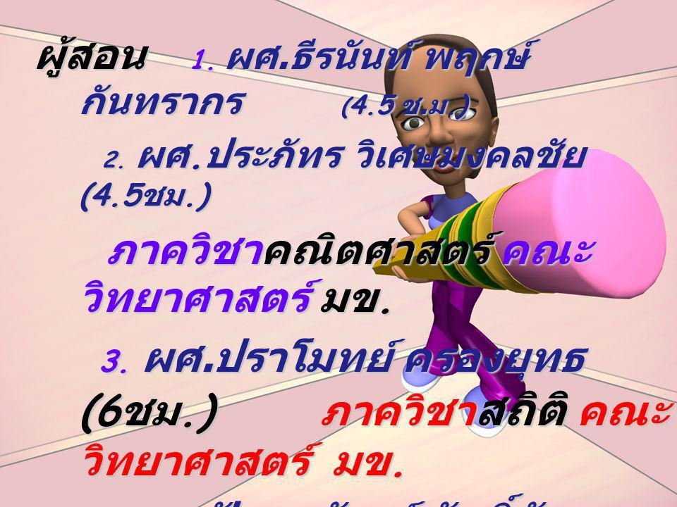 ผู้สอน 1. ผศ. ธีรนันท์ พฤกษ์ กันทรากร ( 4.5 ช. ม.) 2. ผศ. ประภัทร วิเศษมงคลชัย (4.5 ชม.) 2. ผศ. ประภัทร วิเศษมงคลชัย (4.5 ชม.) ภาควิชาคณิตศาสตร์ คณะ ว