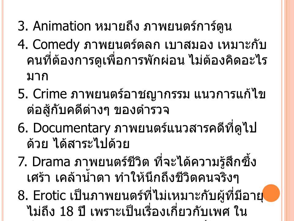 3. Animation หมายถึง ภาพยนตร์การ์ตูน 4.