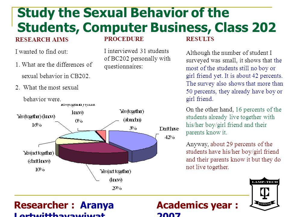 Study the Sexual Behavior of the Students, Computer Business, Class 202 PROCEDURE I interviewed 31 students of BC202 personally with questionnaires: R