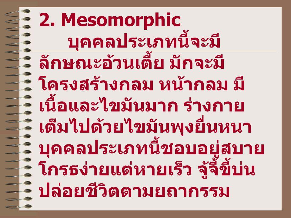 2. Mesomorphic บุคคลประเภทนี้จะมี ลักษณะอ้วนเตี้ย มักจะมี โครงสร้างกลม หน้ากลม มี เนื้อและไขมันมาก ร่างกาย เต็มไปด้วยไขมันพุงยื่นหนา บุคคลประเภทนี้ชอบ