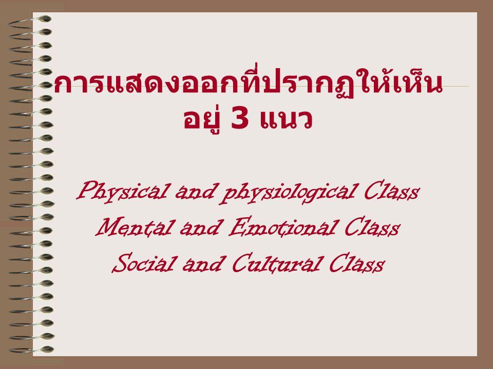 การแสดงออกที่ปรากฏให้เห็น อยู่ 3 แนว Physical and physiological Class Mental and Emotional Class Social and Cultural Class