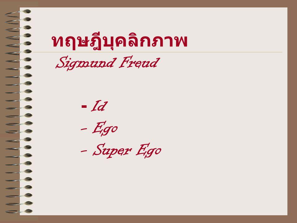 ทฤษฎีบุคลิกภาพ Sigmund Freud - Id - Ego - Super Ego