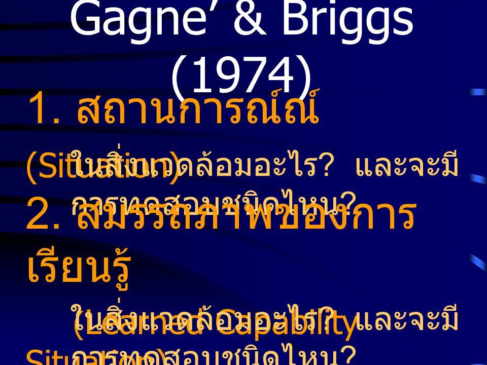 Gagne' & Briggs (1974) 1. สถานการณ์ณ์ (Situation) ในสิ่งแวดล้อมอะไร ? และจะมี การทดสอบชนิดไหน ? 2. สมรรถภาพของการ เรียนรู้ ( Learned Capability Situat