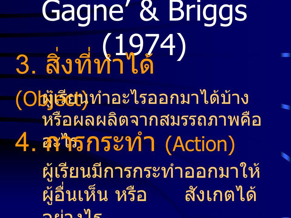 Gagne' & Briggs (1974) 3. สิ่งที่ทำได้ (Object) ผู้เรียนทำอะไรออกมาได้บ้าง หรือผลผลิตจากสมรรถภาพคือ อะไร 4. การกระทำ (Action) ผู้เรียนมีการกระทำออกมาใ