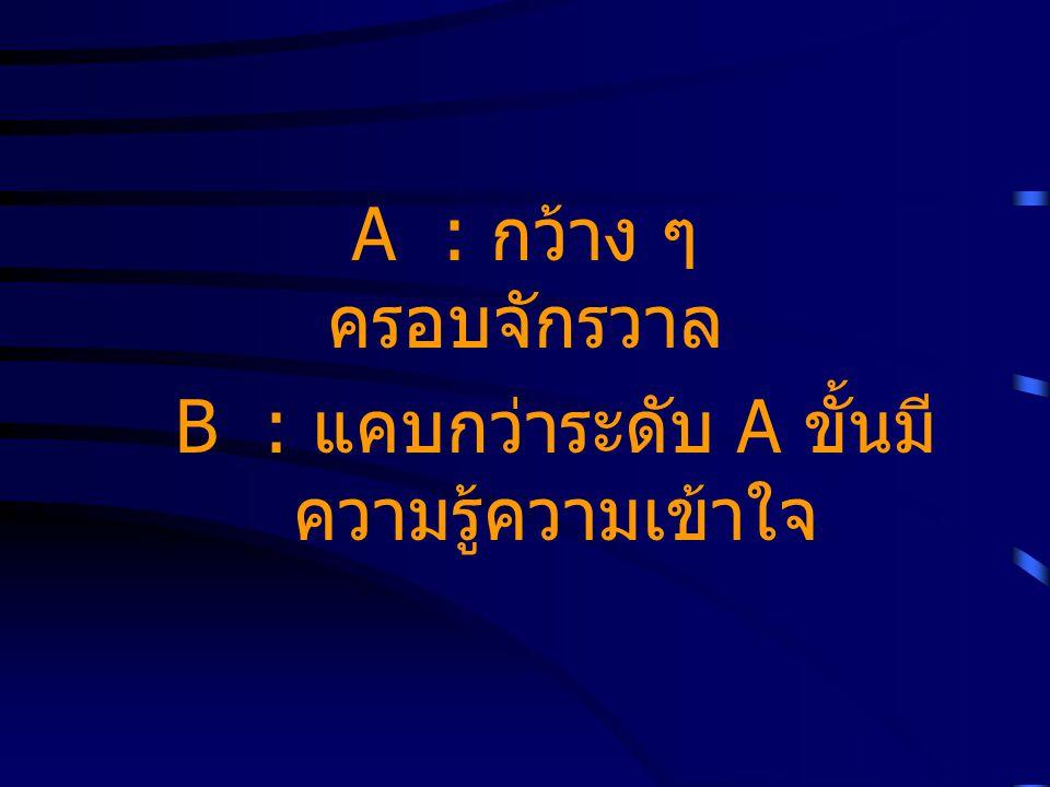 A : กว้าง ๆ ครอบจักรวาล B : แคบกว่าระดับ A ขั้นมี ความรู้ความเข้าใจ