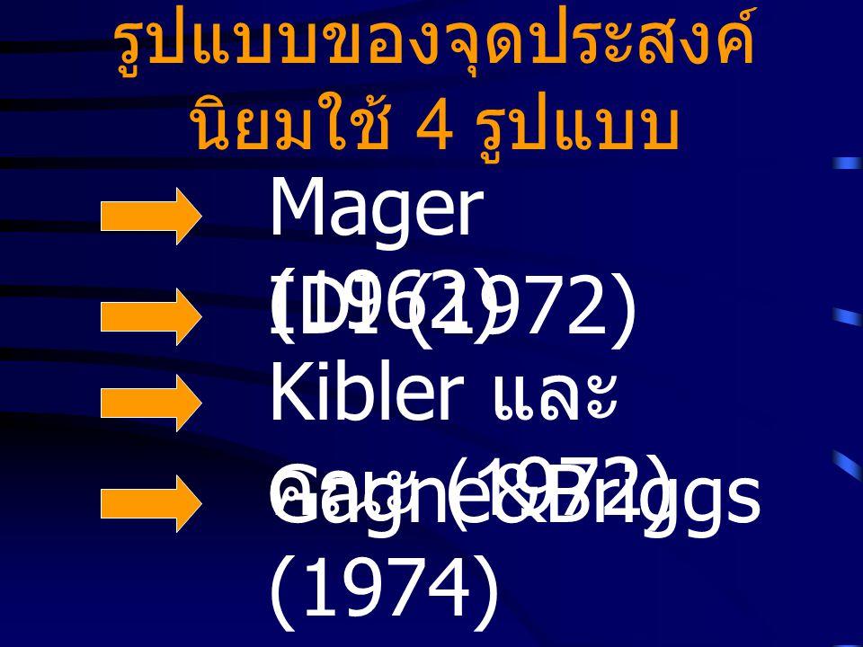 รูปแบบของจุดประสงค์ นิยมใช้ 4 รูปแบบ Mager (1962) Kibler และ คณะ (1972) Gagne&Briggs (1974) IDI (1972)