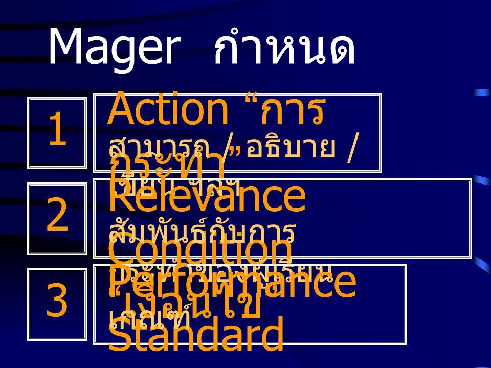 "Mager กำหนด Action "" การ กระทำ "" สามารถ / อธิบาย / เขียน ฯลฯ Relevance Condition "" เงื่อนไข "" สัมพันธ์กับการ กระทำของผู้เรียน Performance Standard เกณ"