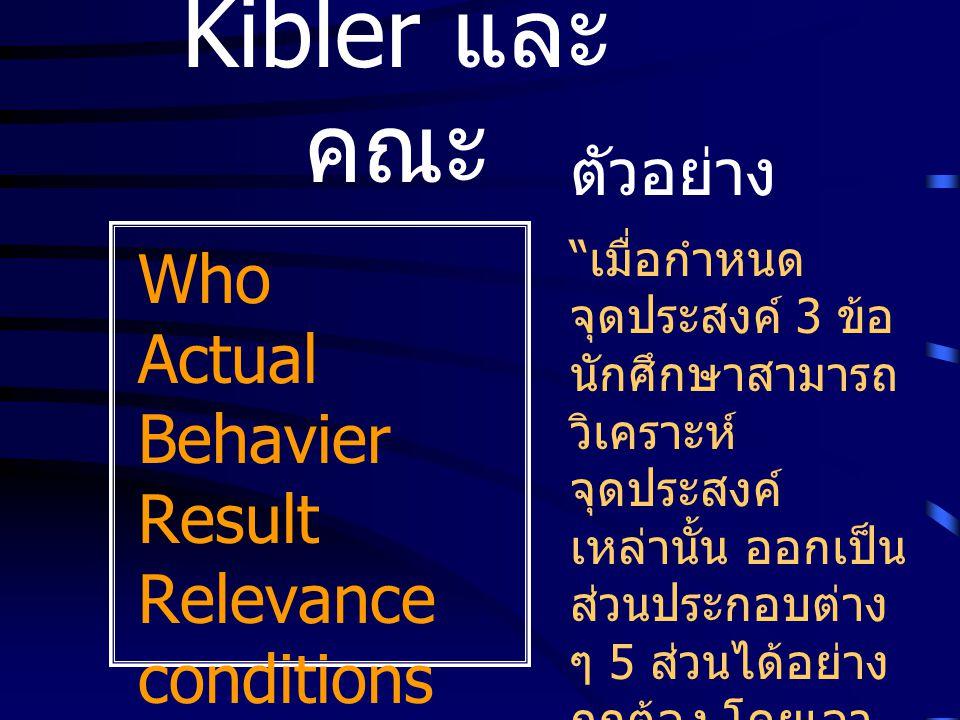 "Kibler และ คณะ Who Actual Behavier Result Relevance conditions Standard ตัวอย่าง "" เมื่อกำหนด จุดประสงค์ 3 ข้อ นักศึกษาสามารถ วิเคราะห์ จุดประสงค์ เหล"