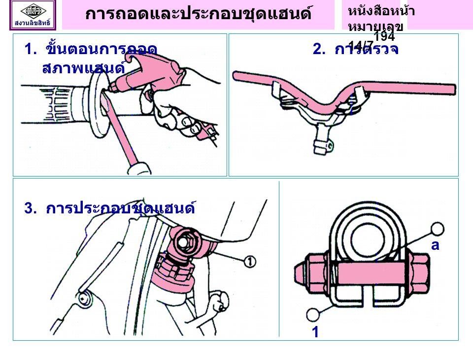 ชิ้นส่วนระบบบังคับ เลี้ยว (Kawasaki KR150R) G : ใช้จาระบีหล่อลื่น T1 : 47 นิวตัน - เมตร (4.8 กก.- ม.) T2 : 49 นิวตัน - เมตร ( ขันให้แน่น ด้วยมือหรือ 0