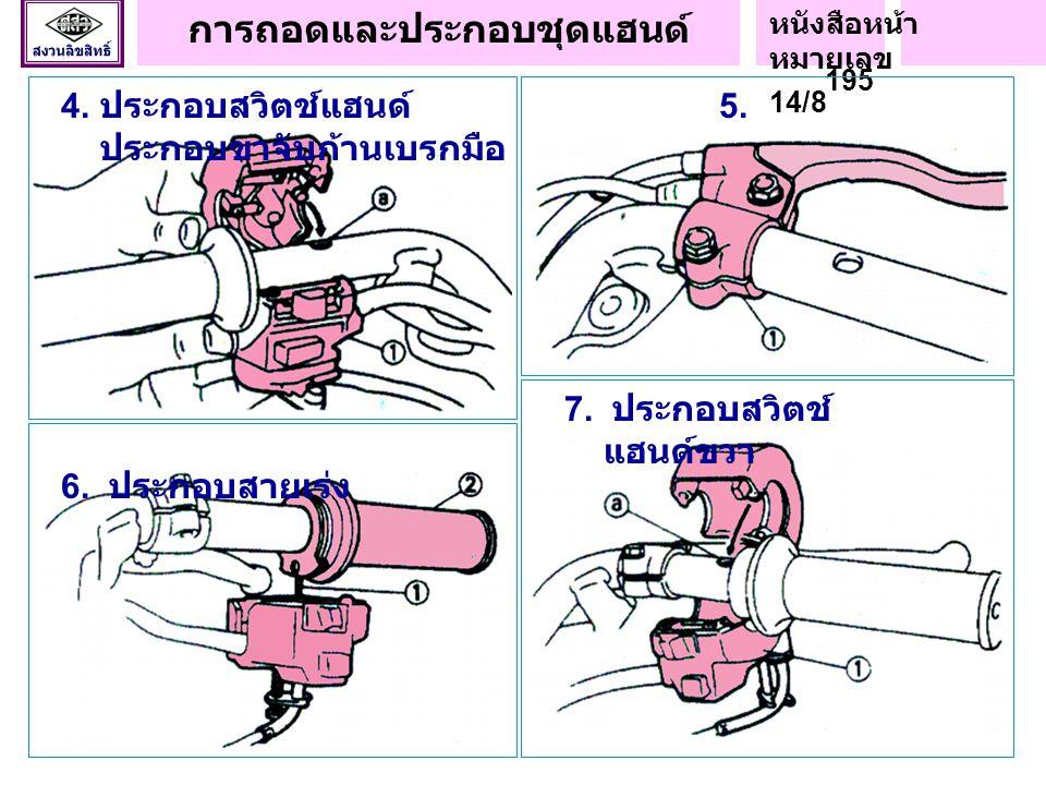 4.ประกอบสวิตช์แฮนด์ 5. ประกอบขาจับก้านเบรกมือ 6. ประกอบสายเร่ง 7.