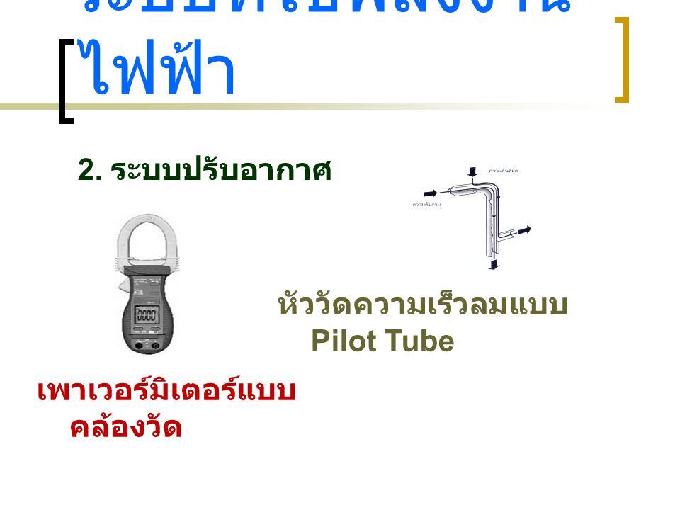 ระบบที่ใช้พลังงาน ไฟฟ้า 2. ระบบปรับอากาศ เพาเวอร์มิเตอร์แบบ คล้องวัด หัววัดความเร็วลมแบบ Pilot Tube