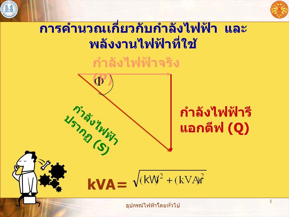 อุปกรณ์ไฟฟ้าโดยทั่วไป 5 การคำนวณเกี่ยวกับกำลังไฟฟ้า และ พลังงานไฟฟ้าที่ใช้ กำลังไฟฟ้าจริง (P) กำลังไฟฟ้ารี แอกตีฟ (Q) กำลังไฟฟ้า ปรากฏ (S) kVA=