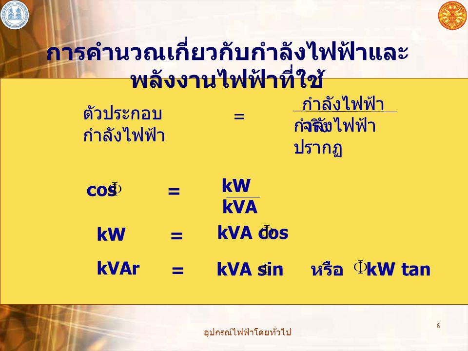 อุปกรณ์ไฟฟ้าโดยทั่วไป 6 การคำนวณเกี่ยวกับกำลังไฟฟ้าและ พลังงานไฟฟ้าที่ใช้ ตัวประกอบ กำลังไฟฟ้า = กำลังไฟฟ้า จริง กำลังไฟฟ้า ปรากฏ cos kW kVA = kW = kVA cos kVAr = kVA sin หรือ kW tan