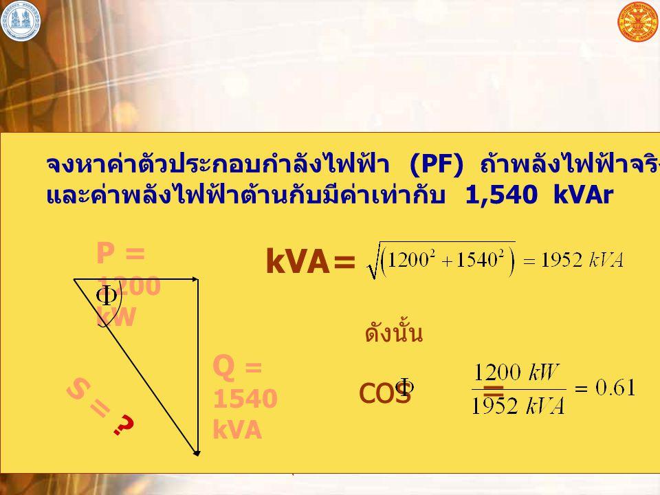 อุปกรณ์ไฟฟ้าโดยทั่วไป 8 จงหาค่าตัวประกอบกำลังไฟฟ้า (PF) ถ้าพลังไฟฟ้าจริงที่วัดได้คือ 1,200 kW และค่าพลังไฟฟ้าต้านกับมีค่าเท่ากับ 1,540 kVAr ดังนั้น P = 1200 kW Q = 1540 kVA S = .