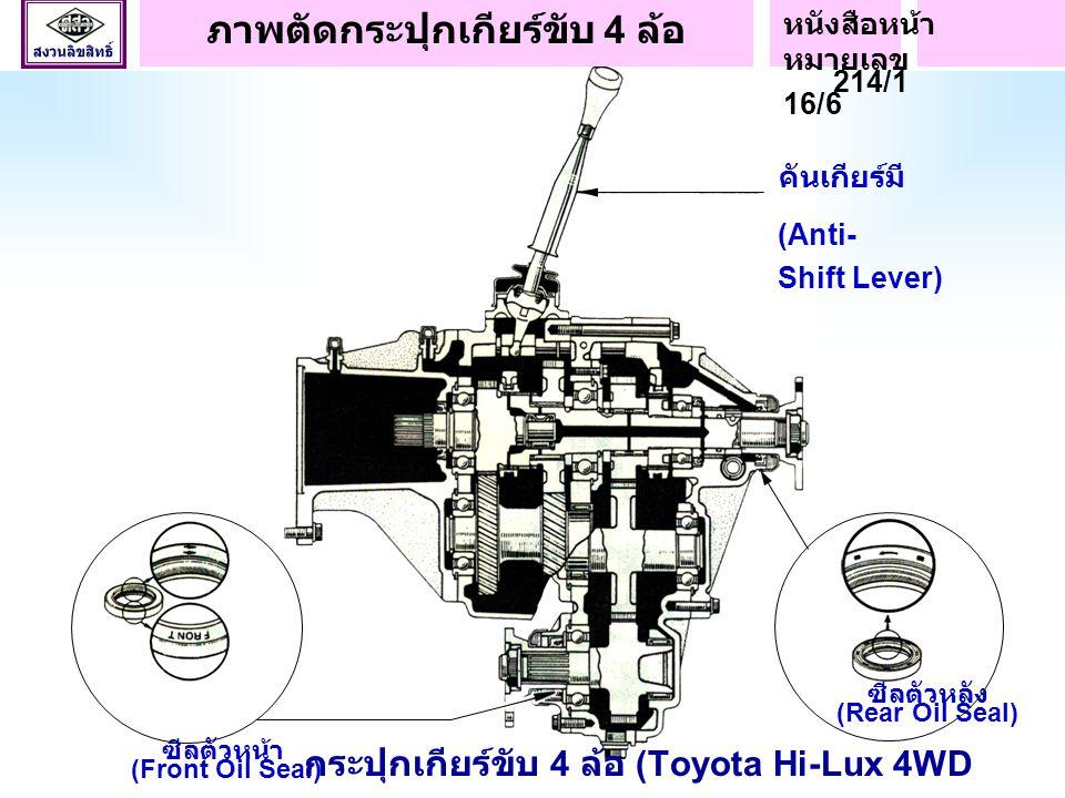 กระปุกเกียร์เปลี่ยนความเร็ว (Transmission) กระปุกเกียร์ ขับ 4 ล้อ (Transfer) กระปุกเกียร์เปลี่ยนความเร็วและกระปุกเกียร์ขับ 4 ล้อ (Toyota Hi-Lux 4WD Tr