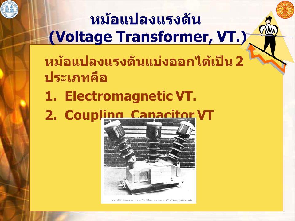 อุปกรณ์ไฟฟ้าโดยทั่วไป 16 หม้อแปลงแรงดัน (Voltage Transformer, VT.) หม้อแปลงแรงดันแบ่งออกได้เป็น 2 ประเภทคือ 1. Electromagnetic VT. 2. Coupling Capacit