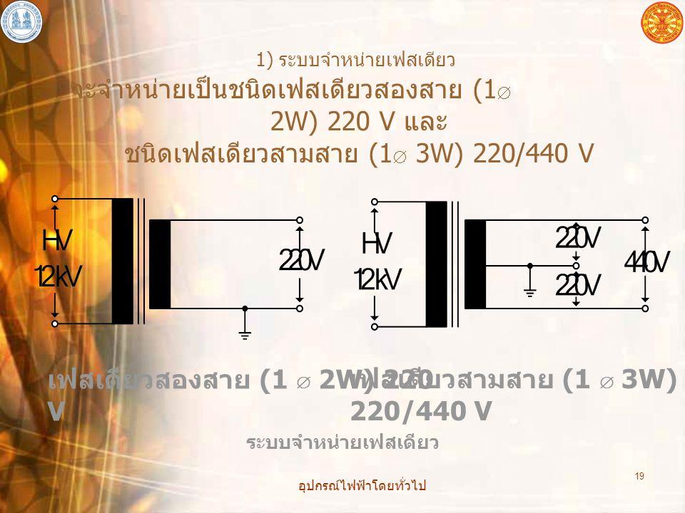 อุปกรณ์ไฟฟ้าโดยทั่วไป 19 1) ระบบจำหน่ายเฟสเดียว จะจำหน่ายเป็นชนิดเฟสเดียวสองสาย (1  2W) 220 V และ ชนิดเฟสเดียวสามสาย (1  3W) 220/440 V ระบบจำหน่ายเฟ