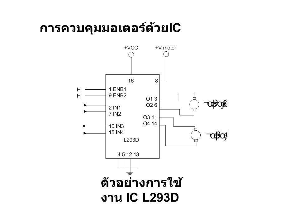 ตัวอย่างการใช้ งาน IC L293D