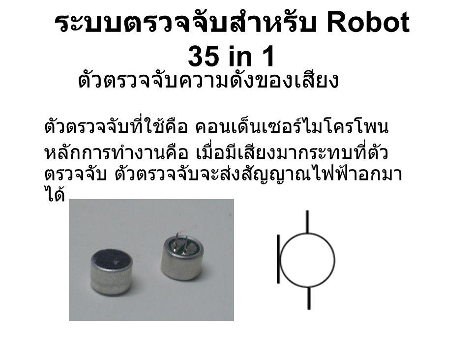 ระบบตรวจจับสำหรับ Robot 35 in 1 ตัวตรวจจับความดังของเสียง ตัวตรวจจับที่ใช้คือ คอนเด็นเซอร์ไมโครโพน หลักการทำงานคือ เมื่อมีเสียงมากระทบที่ตัว ตรวจจับ ต
