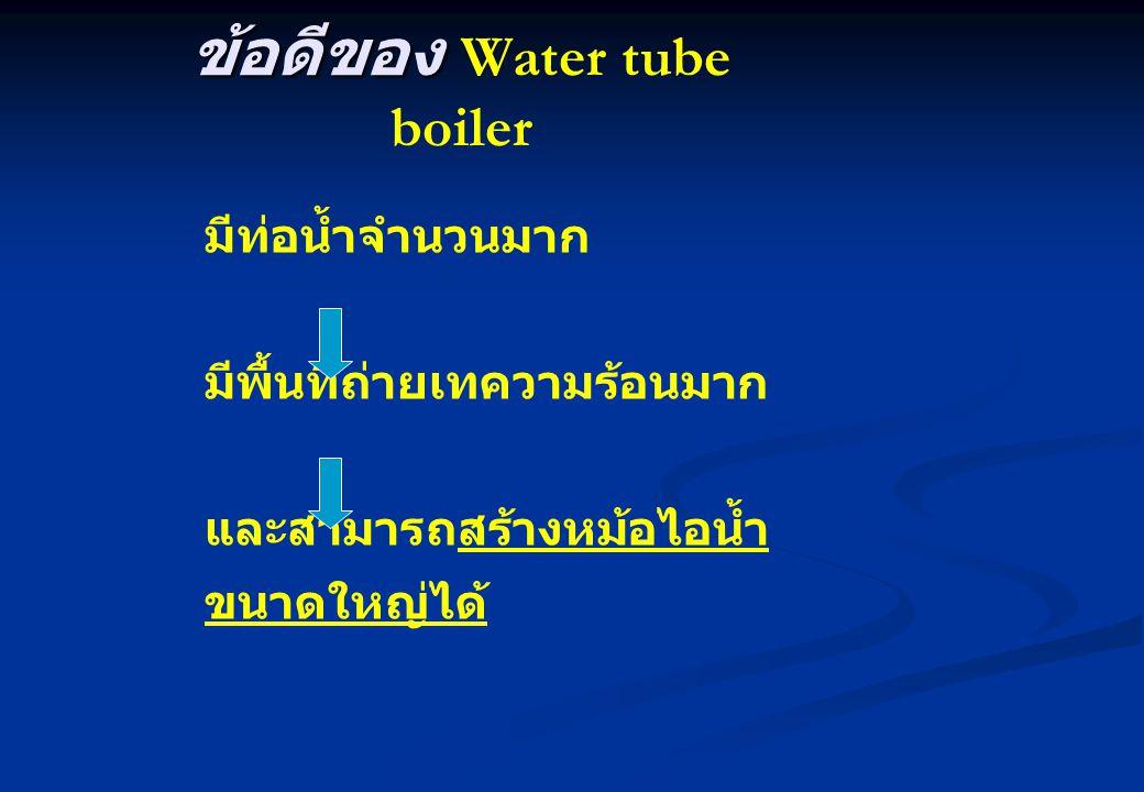 ข้อดีของ ข้อดีของ Water tube boiler มีท่อน้ำจำนวนมาก มีพื้นที่ถ่ายเทความร้อนมาก และสามารถสร้างหม้อไอน้ำ ขนาดใหญ่ได้