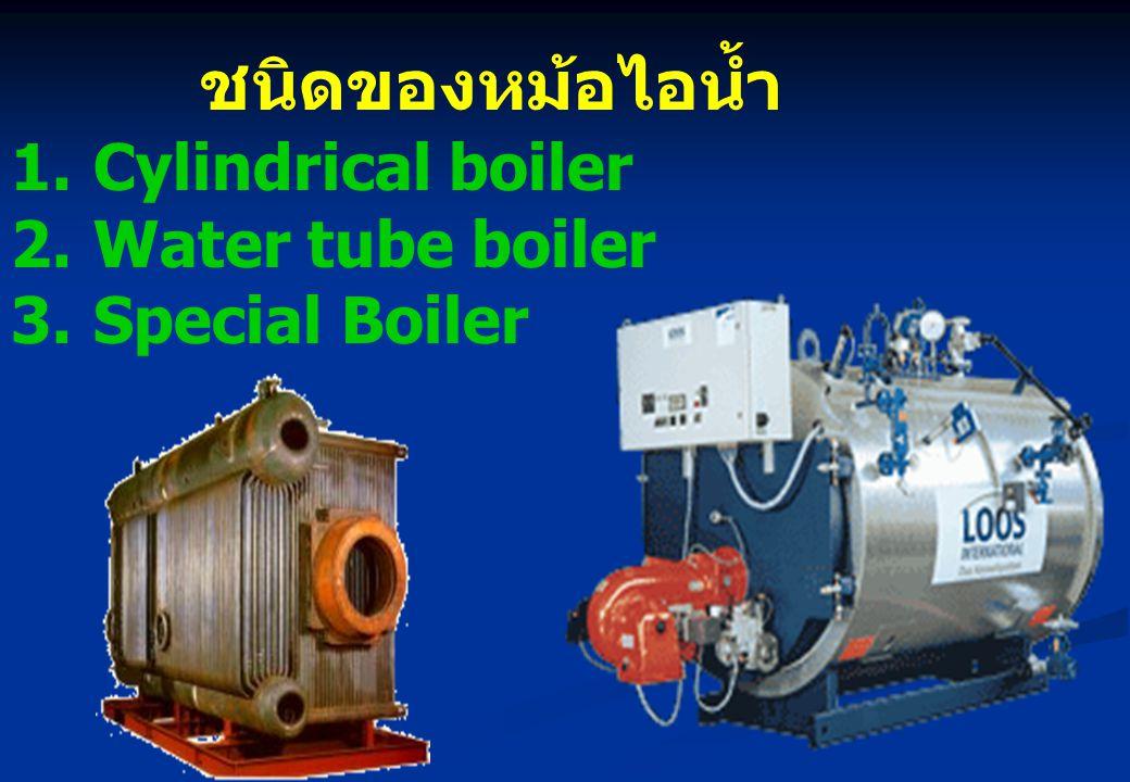 ชนิดของหม้อไอน้ำ 1.Cylindrical boiler 2.Water tube boiler 3.Special Boiler