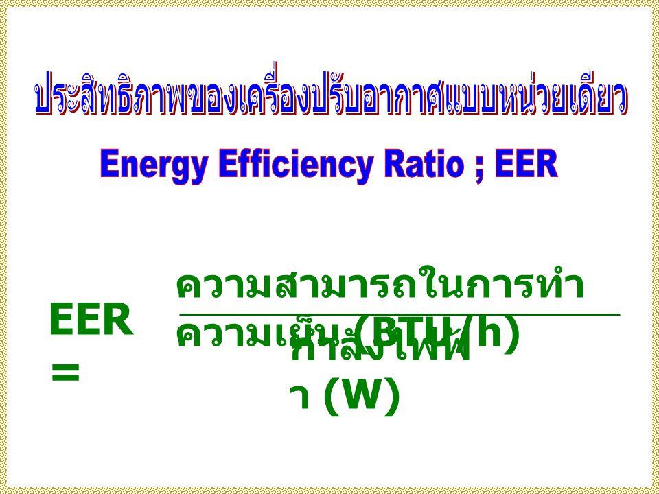 EER = ความสามารถในการทำ ความเย็น (BTU/h) กำลังไฟฟ้ า (W)