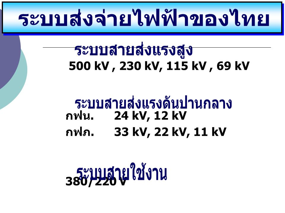 500 kV, 230 kV, 115 kV, 69 kV กฟน. 24 kV, 12 kV กฟภ. 33 kV, 22 kV, 11 kV 380/220 V ระบบส่งจ่ายไฟฟ้าของไทย