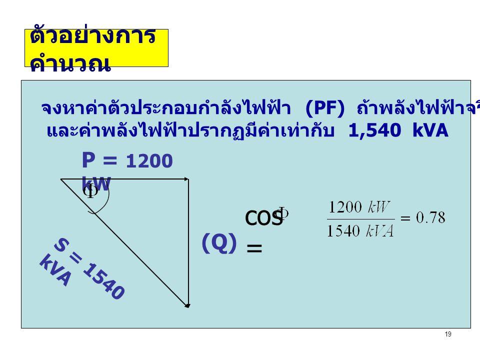 19 ตัวอย่างการ คำนวณ จงหาค่าตัวประกอบกำลังไฟฟ้า (PF) ถ้าพลังไฟฟ้าจริงที่วัดได้คือ 1,200 kW และค่าพลังไฟฟ้าปรากฏมีค่าเท่ากับ 1,540 kVA P = 1200 kW (Q)