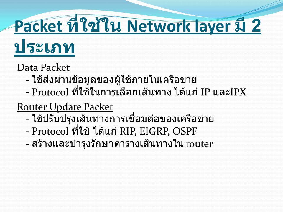 Packet ที่ใช้ใน Network layer มี 2 ประเภท Data Packet - ใช้ส่งผ่านข้อมูลของผู้ใช้ภายในเครือข่าย - Protocol ที่ใช้ในการเลือกเส้นทาง ได้แก่ IP และ IPX Router Update Packet - ใช้ปรับปรุงเส้นทางการเชื่อมต่อของเครือข่าย - Protocol ที่ใช้ ได้แก่ RIP, EIGRP, OSPF - สร้างและบำรุงรักษาตารางเส้นทางใน router