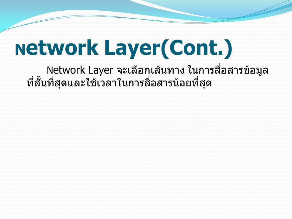 N etwork Layer(Cont.) N etwork Layer จะเลือกเส้นทาง ในการสื่อสารข้อมูล ที่สั้นที่สุดและใช้เวลาในการสื่อสารน้อยที่สุด