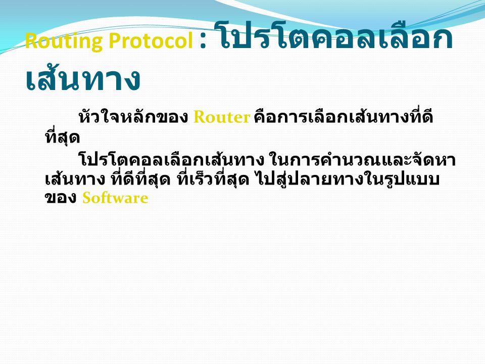 Routing Protocol : โปรโตคอลเลือก เส้นทาง หัวใจหลักของ Router คือการเลือกเส้นทางที่ดี ที่สุด โปรโตคอลเลือกเส้นทาง ในการคำนวณและจัดหา เส้นทาง ที่ดีที่สุด ที่เร็วที่สุด ไปสู่ปลายทางในรูปแบบ ของ Software