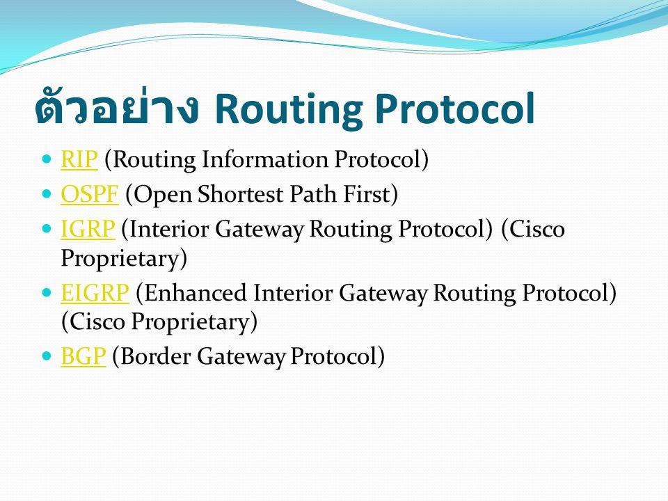 ตัวอย่าง Routing Protocol RIP (Routing Information Protocol) RIP OSPF (Open Shortest Path First) OSPF IGRP (Interior Gateway Routing Protocol) (Cisco Proprietary) IGRP EIGRP (Enhanced Interior Gateway Routing Protocol) (Cisco Proprietary) EIGRP BGP (Border Gateway Protocol) BGP