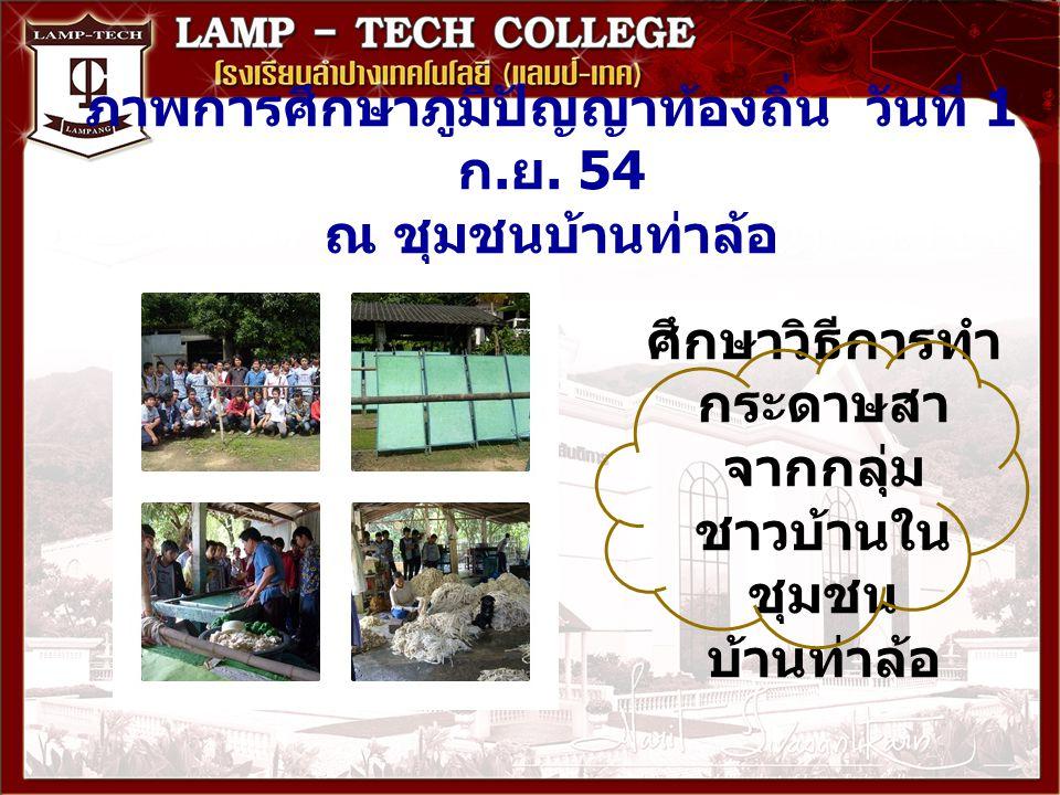 ภาพการศึกษาภูมิปัญญาท้องถิ่น วันที่ 1 ก. ย. 54 ณ ชุมชนบ้านท่าล้อ ศึกษาวิธีการทำ กระดาษสา จากกลุ่ม ชาวบ้านใน ชุมชน บ้านท่าล้อ