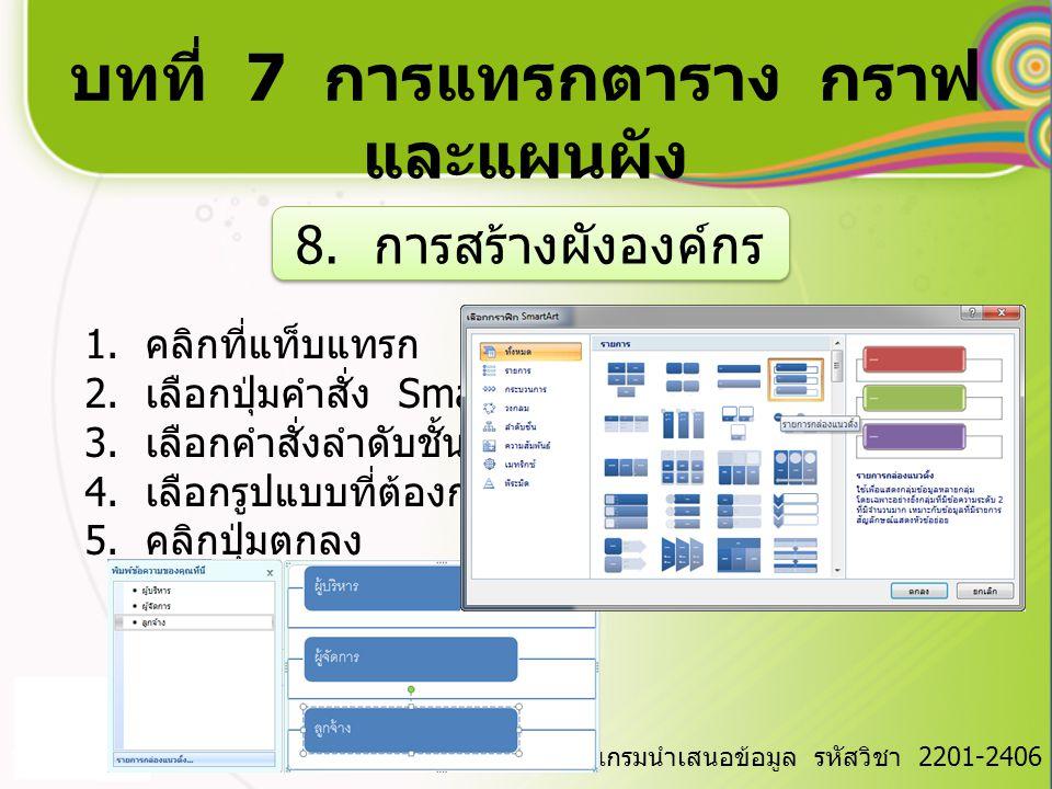 บทที่ 7 การแทรกตาราง กราฟ และแผนผัง วิชา การใช้โปรแกรมนำเสนอข้อมูล รหัสวิชา 2201-2406 8. การสร้างผังองค์กร 1. คลิกที่แท็บแทรก 2. เลือกปุ่มคำสั่ง Smart
