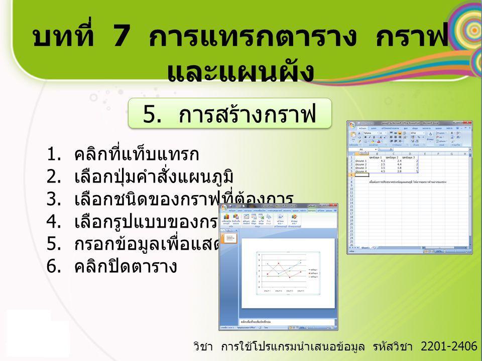 บทที่ 7 การแทรกตาราง กราฟ และแผนผัง วิชา การใช้โปรแกรมนำเสนอข้อมูล รหัสวิชา 2201-2406 6.
