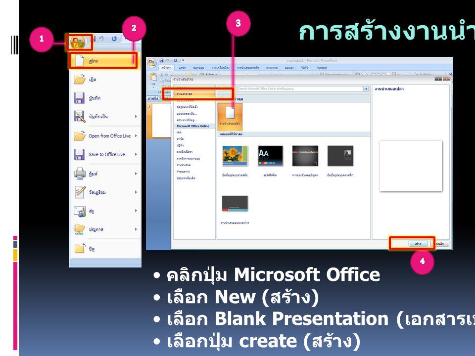 การสร้างงานนำเสนอ คลิกปุ่ม Microsoft Office เลือก New ( สร้าง ) เลือก Blank Presentation ( เอกสารเปล่า ) เลือกปุ่ม create ( สร้าง )