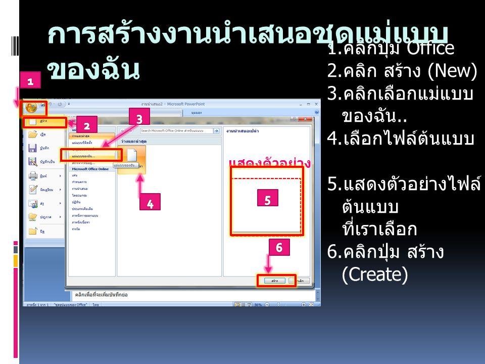 1. คลิกปุ่ม Office 2. คลิก สร้าง (New) 3. คลิกเลือกแม่แบบ ของฉัน.. 4. เลือกไฟล์ต้นแบบ 5. แสดงตัวอย่างไฟล์ ต้นแบบ ที่เราเลือก 6. คลิกปุ่ม สร้าง (Create