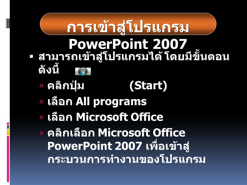  สามารถเข้าสู่โปรแกรมได้ โดยมีขั้นตอน ดังนี้  คลิกปุ่ม (Start)  เลือก All programs  เลือก Microsoft Office  คลิกเลือก Microsoft Office PowerPoint