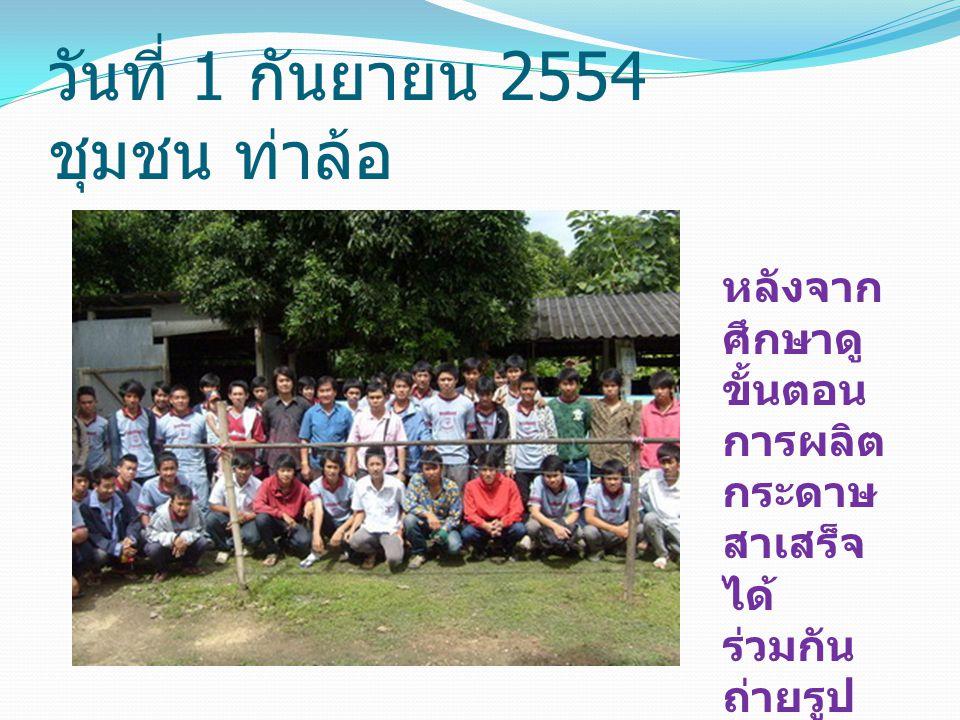 วันที่ 1 กันยายน 2554 ชุมชน ท่าล้อ หลังจาก ศึกษาดู ขั้นตอน การผลิต กระดาษ สาเสร็จ ได้ ร่วมกัน ถ่ายรูป