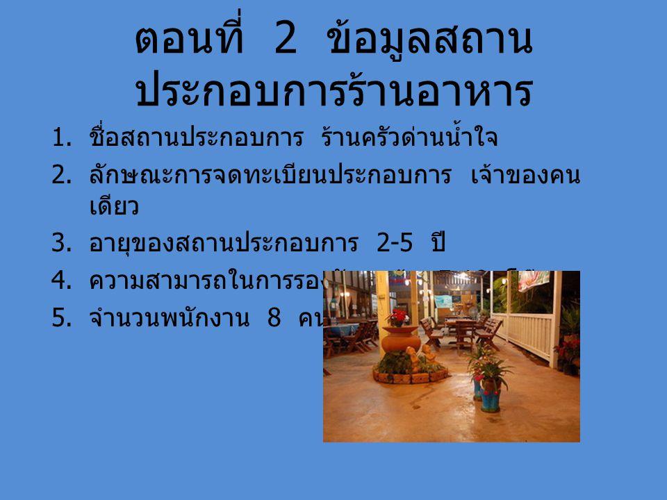 ตอนที่ 2 ข้อมูลสถาน ประกอบการร้านอาหาร 1. ชื่อสถานประกอบการ ร้านครัวด่านน้ำใจ 2. ลักษณะการจดทะเบียนประกอบการ เจ้าของคน เดียว 3. อายุของสถานประกอบการ 2