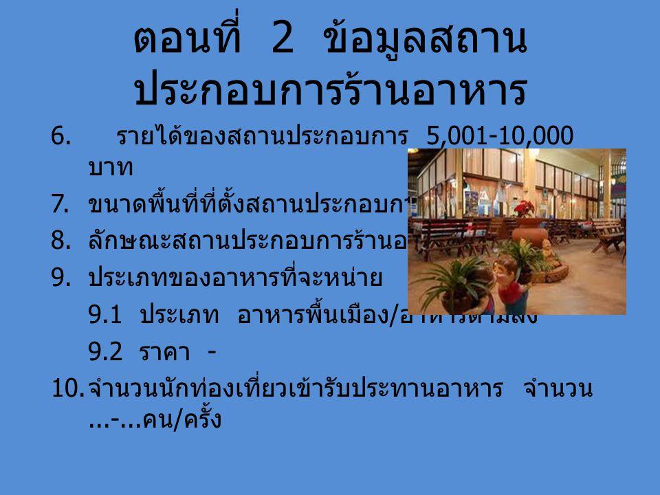 ตอนที่ 2 ข้อมูลสถาน ประกอบการร้านอาหาร 6. รายได้ของสถานประกอบการ 5,001-10,000 บาท 7. ขนาดพื้นที่ที่ตั้งสถานประกอบการ - 8. ลักษณะสถานประกอบการร้านอาหาร